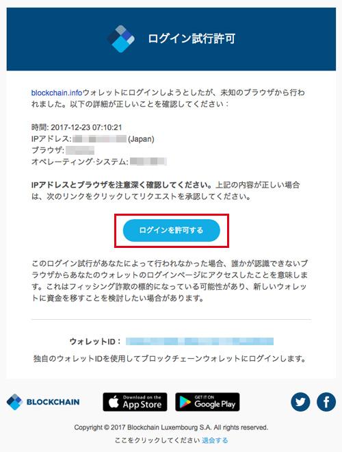 Blockchain:ログイン許可メール