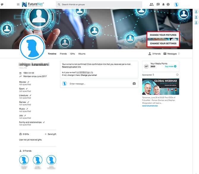 FutureNet:プロフィール画面