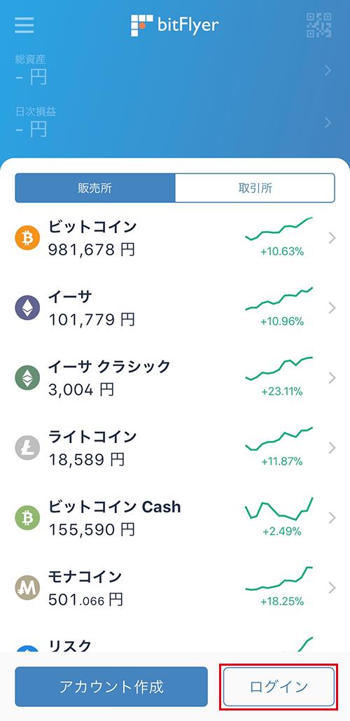 bitFlyerアプリ:起動画面