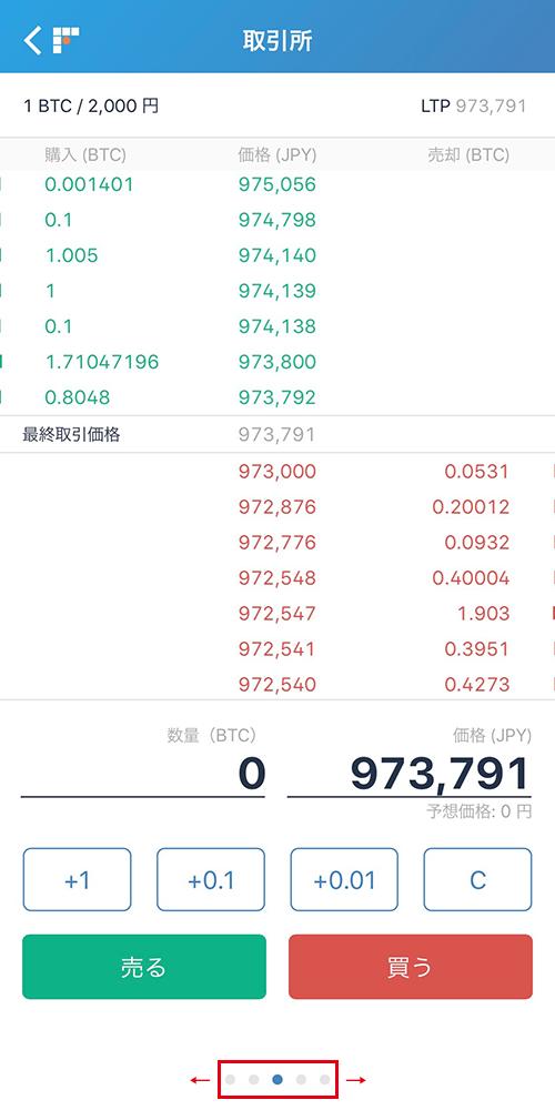 bitFlyerアプリ:取引所での売買