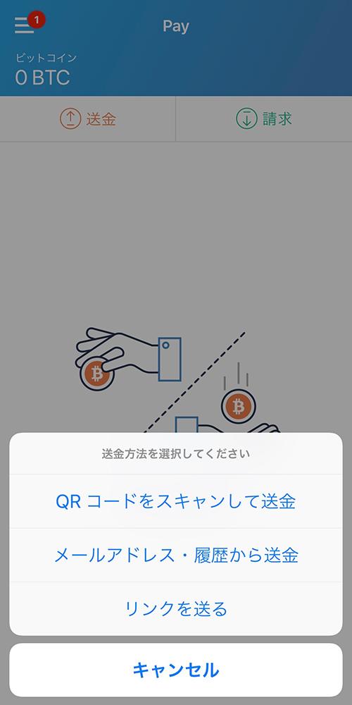 bitFlyerアプリ:送金方法の選択